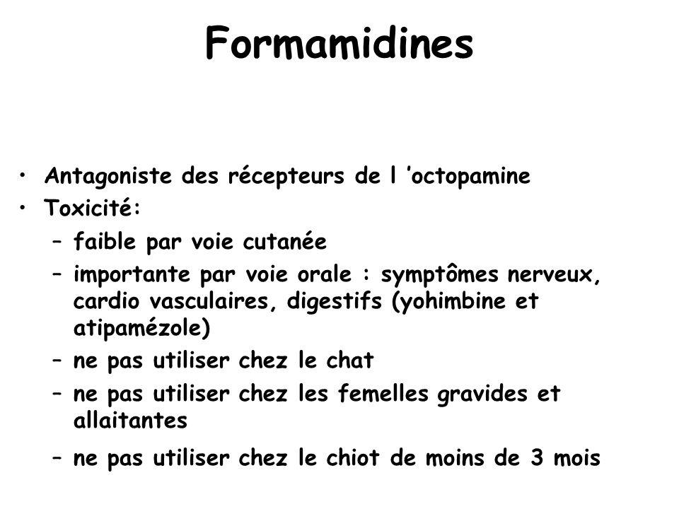 Formamidines Antagoniste des récepteurs de l 'octopamine Toxicité: