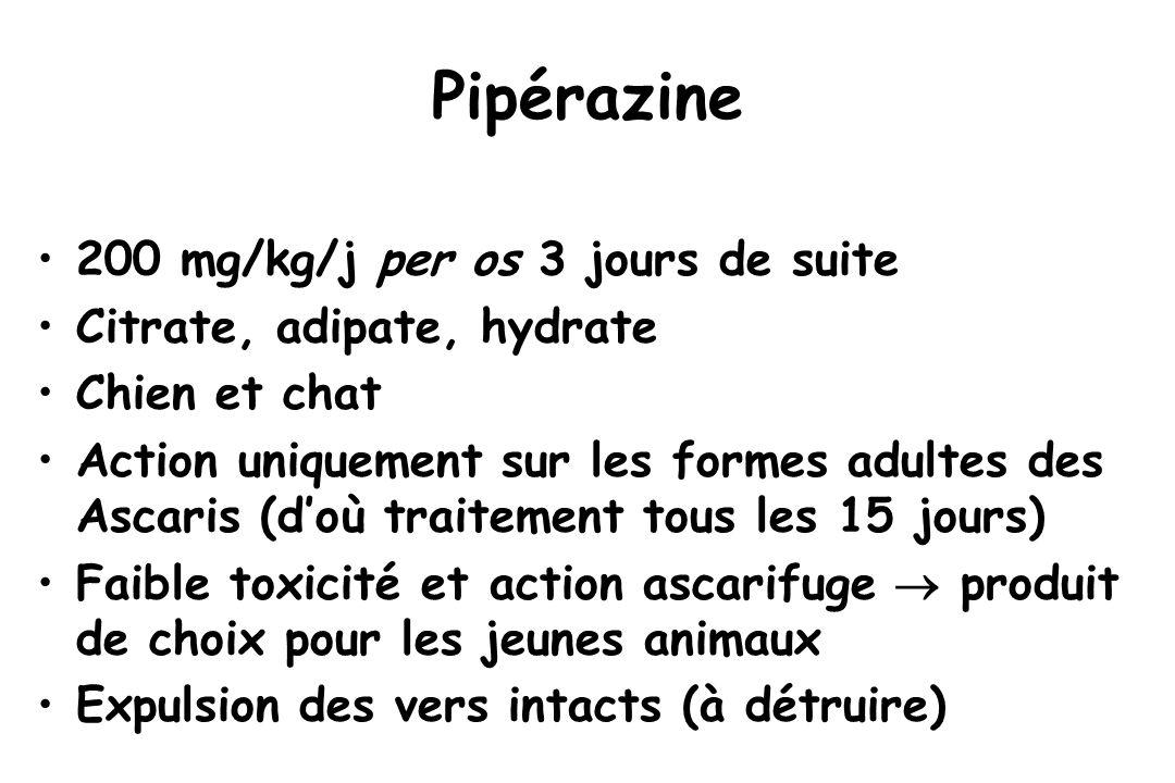 Pipérazine 200 mg/kg/j per os 3 jours de suite