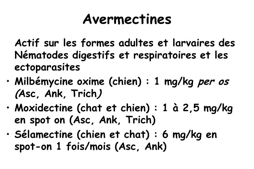Avermectines Actif sur les formes adultes et larvaires des Nématodes digestifs et respiratoires et les ectoparasites.