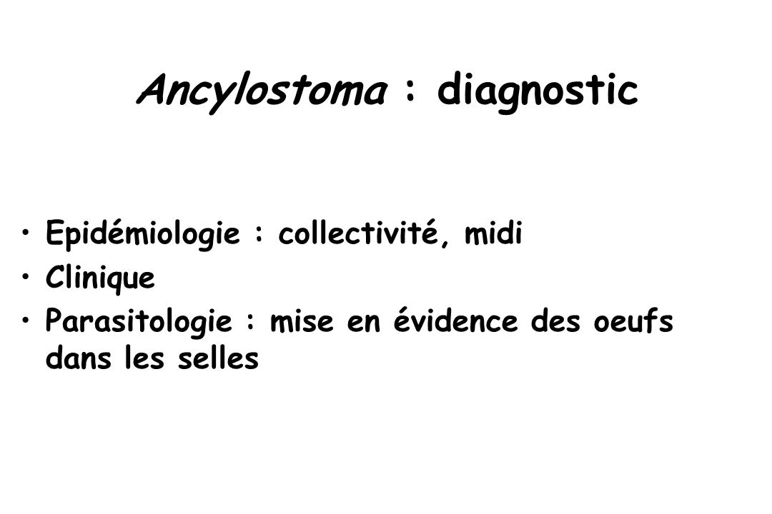Ancylostoma : diagnostic