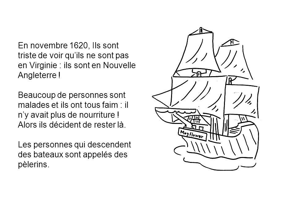 En novembre 1620, Ils sont triste de voir qu'ils ne sont pas en Virginie : ils sont en Nouvelle Angleterre .