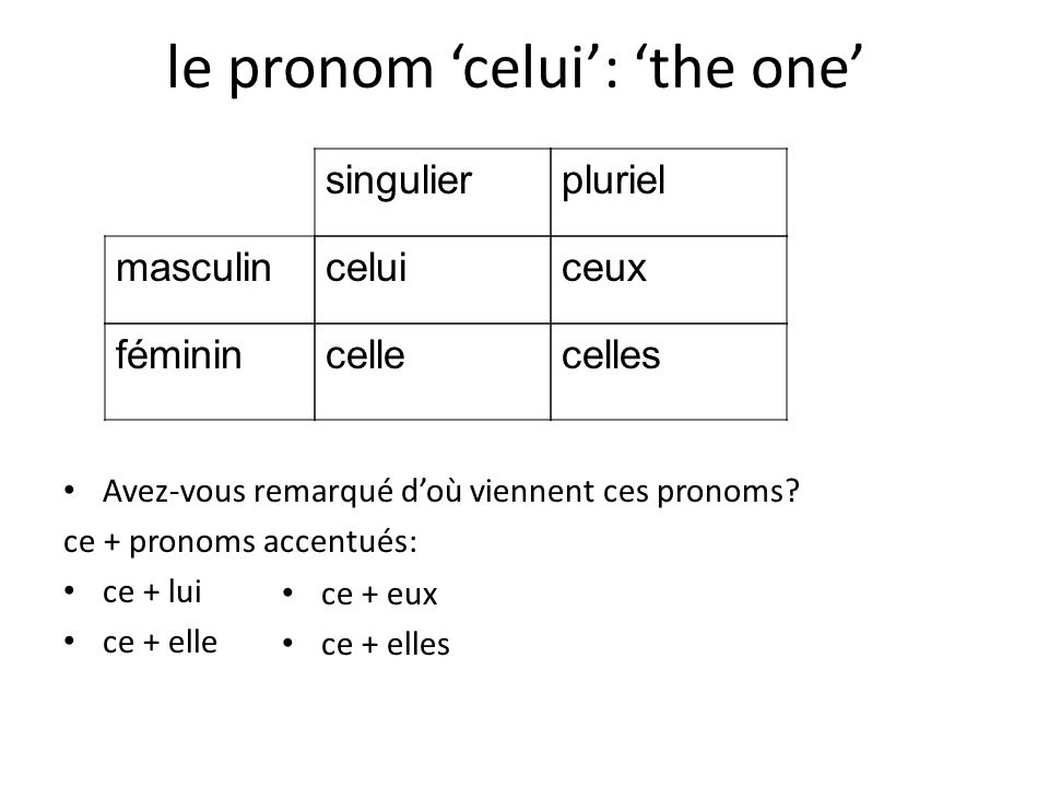 le pronom 'celui': 'the one'