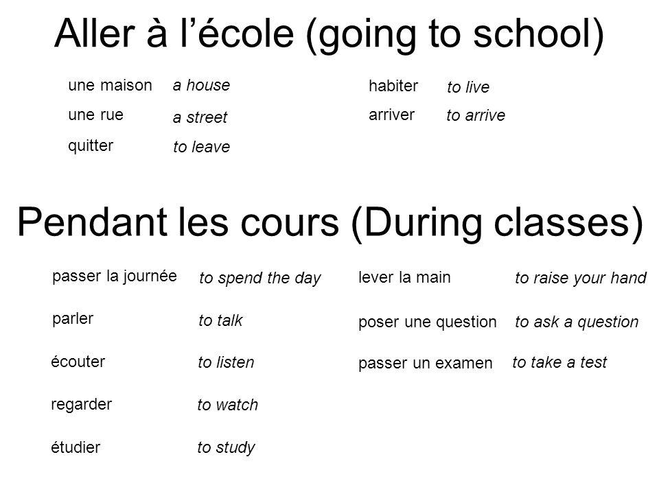 Aller à l'école (going to school)