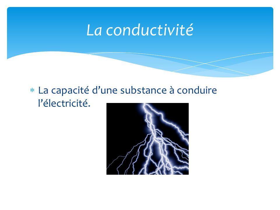 La conductivité La capacité d'une substance à conduire l'électricité.