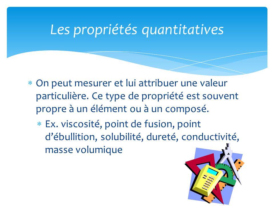 Les propriétés quantitatives