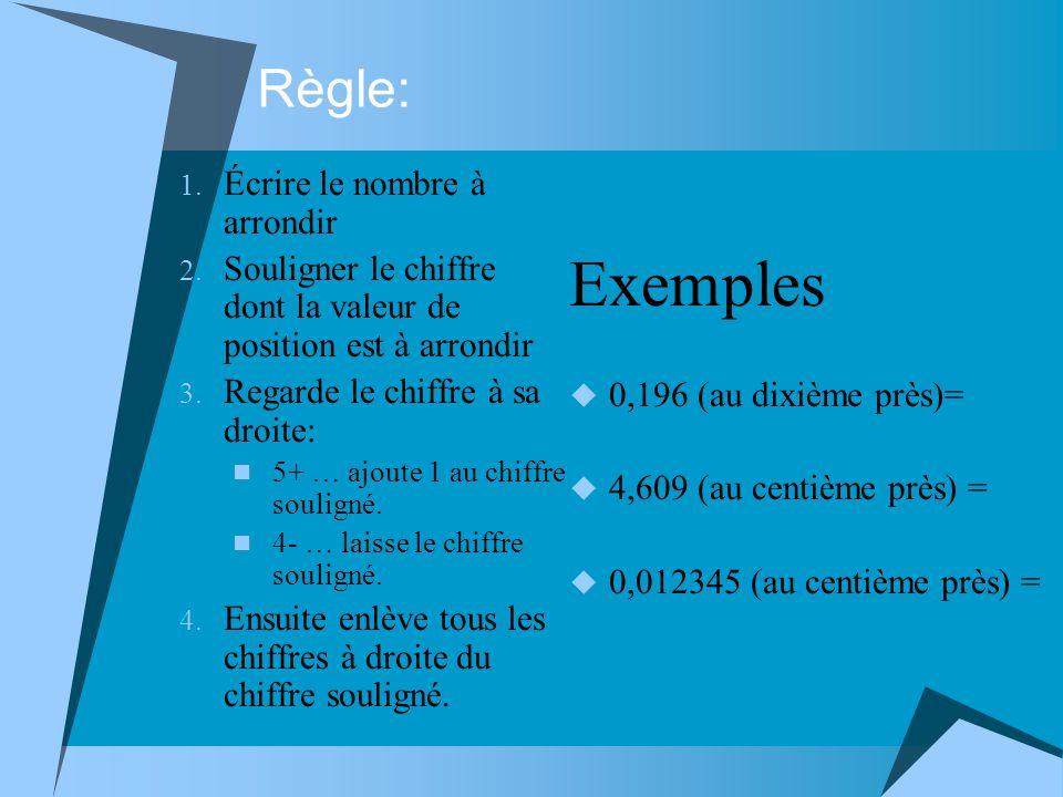 Exemples Règle: Écrire le nombre à arrondir