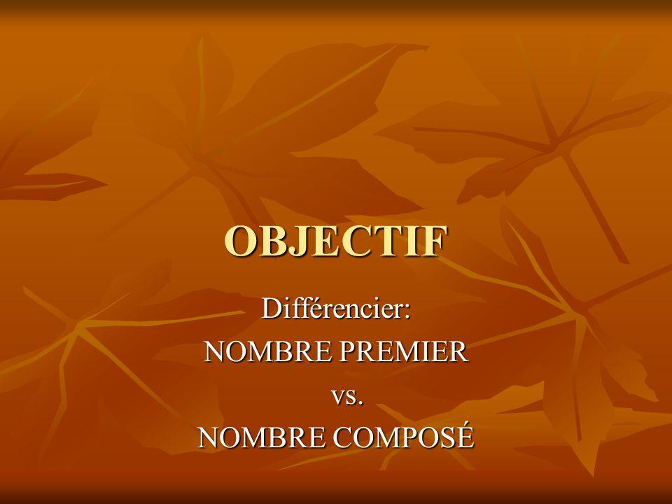 Différencier: NOMBRE PREMIER vs. NOMBRE COMPOSÉ