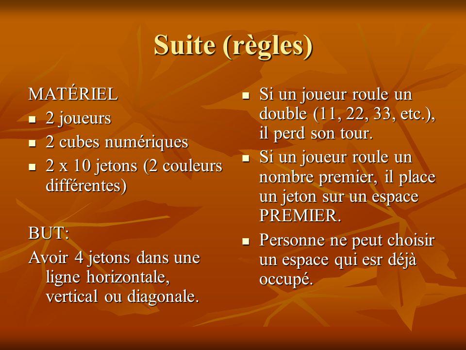 Suite (règles) MATÉRIEL 2 joueurs 2 cubes numériques