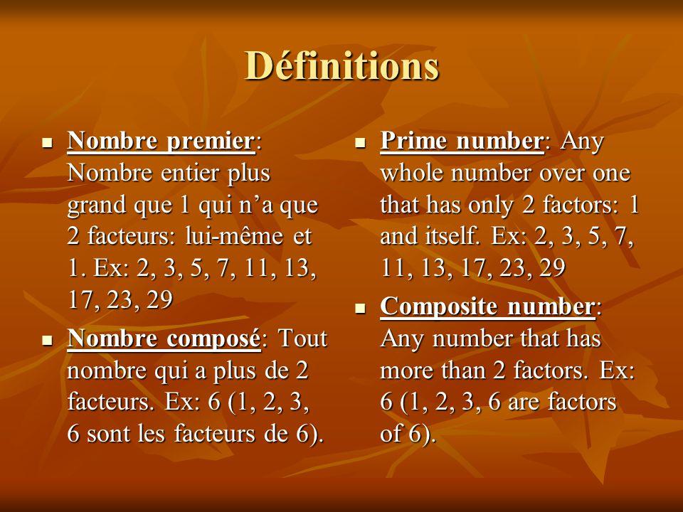 Définitions Nombre premier: Nombre entier plus grand que 1 qui n'a que 2 facteurs: lui-même et 1. Ex: 2, 3, 5, 7, 11, 13, 17, 23, 29.