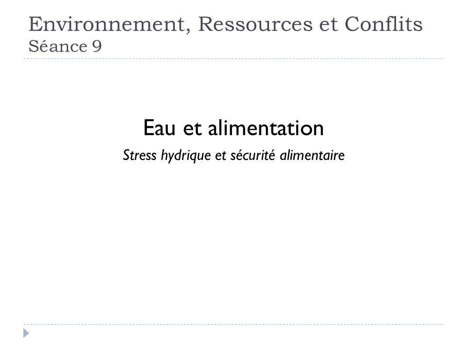 Environnement, Ressources et Conflits Séance 9