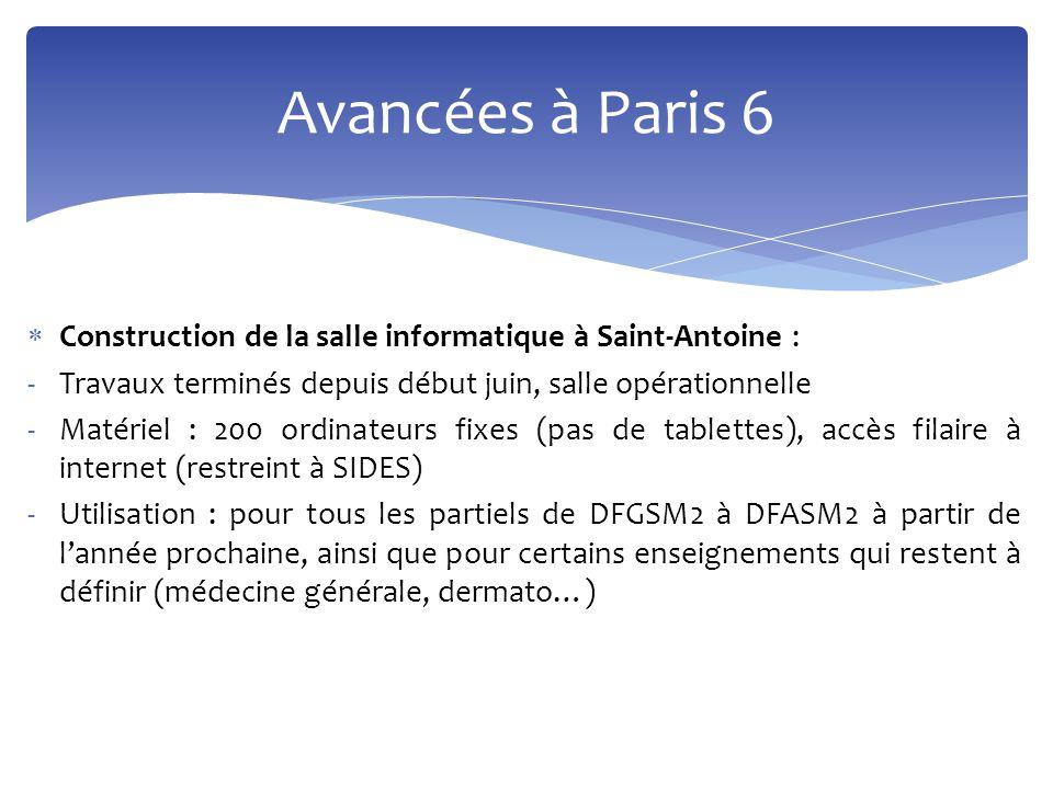 Avancées à Paris 6 Construction de la salle informatique à Saint-Antoine : Travaux terminés depuis début juin, salle opérationnelle.