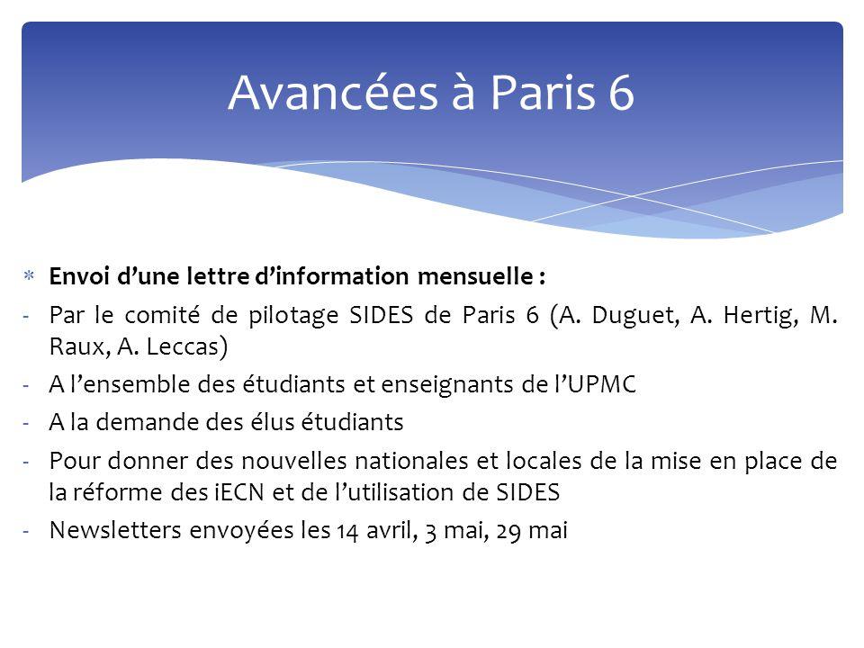 Avancées à Paris 6 Envoi d'une lettre d'information mensuelle :