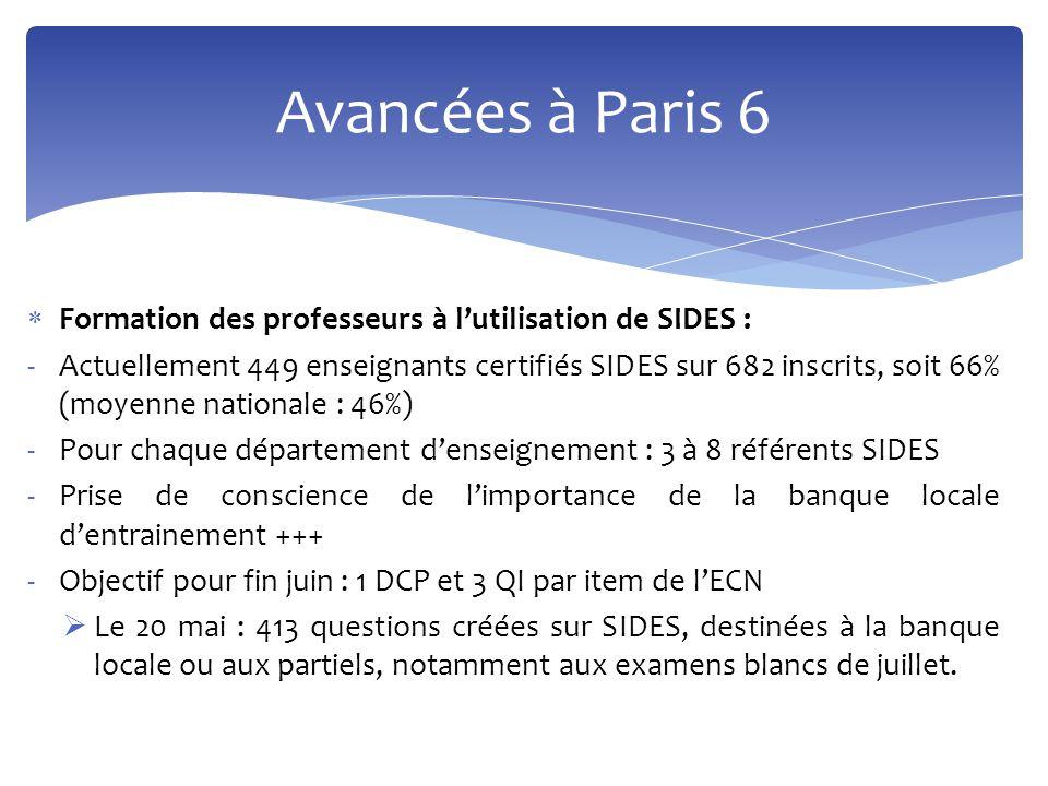 Avancées à Paris 6 Formation des professeurs à l'utilisation de SIDES :