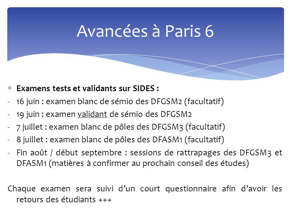 Avancées à Paris 6 Examens tests et validants sur SIDES :