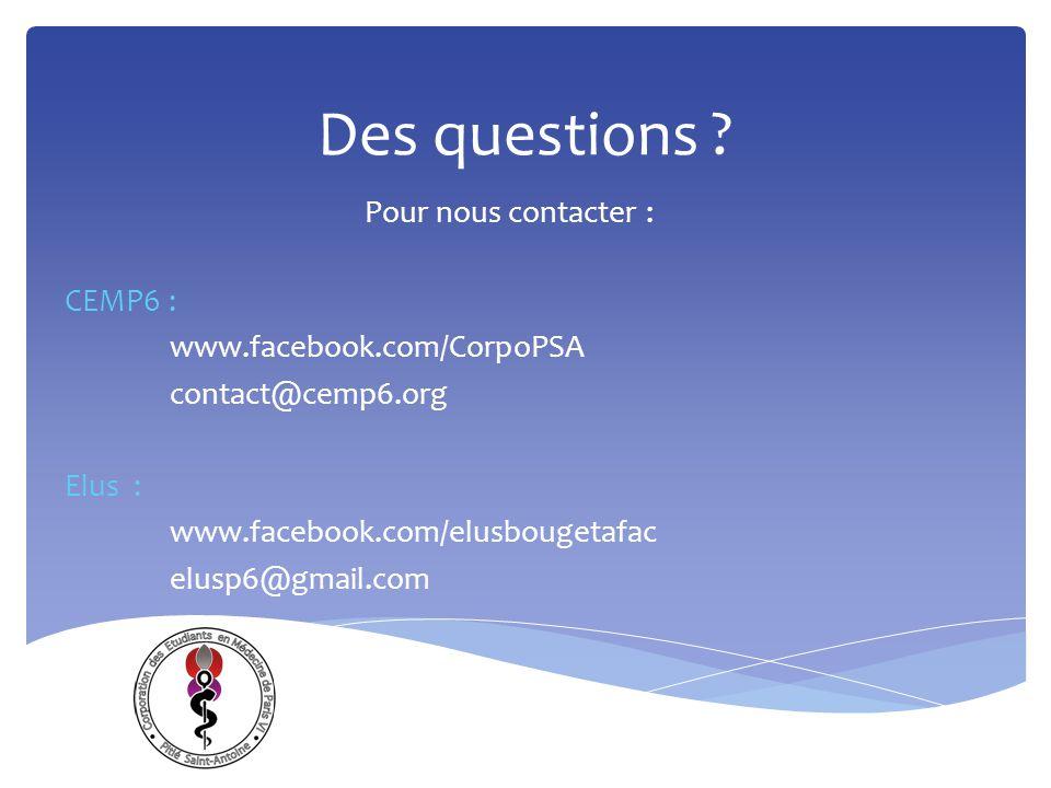 Des questions Pour nous contacter : CEMP6 :