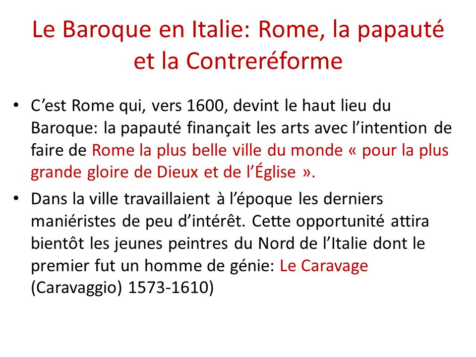 Le Baroque en Italie: Rome, la papauté et la Contreréforme