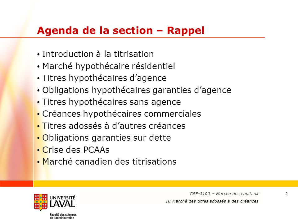 Agenda de la section – Rappel