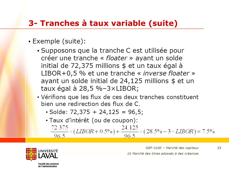 3- Tranches à taux variable (suite)