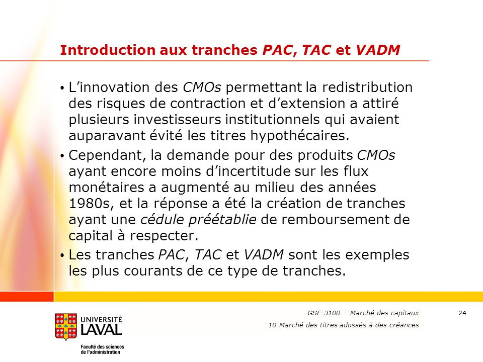 Introduction aux tranches PAC, TAC et VADM