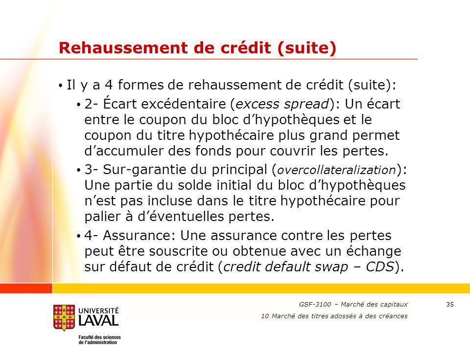Rehaussement de crédit (suite)