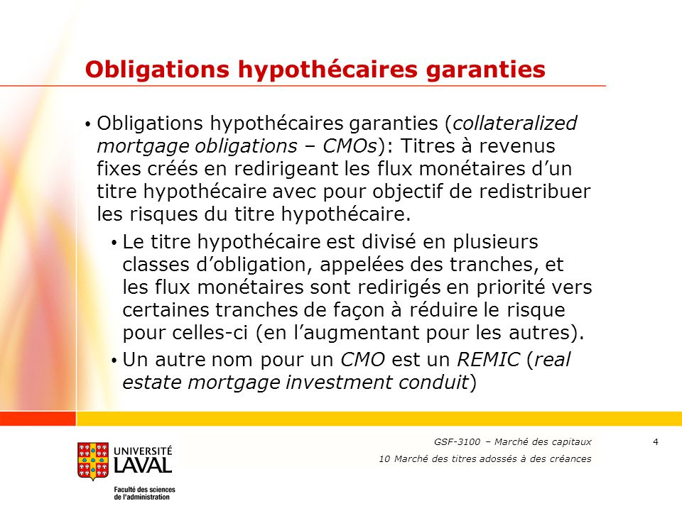 Obligations hypothécaires garanties