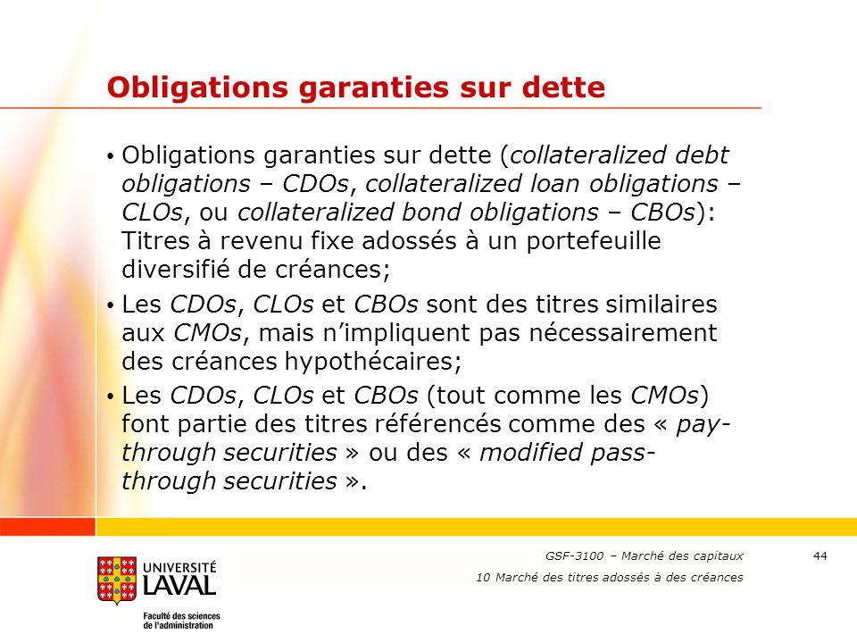 Obligations garanties sur dette