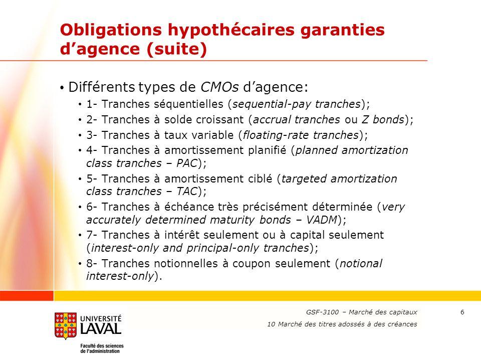 Obligations hypothécaires garanties d'agence (suite)