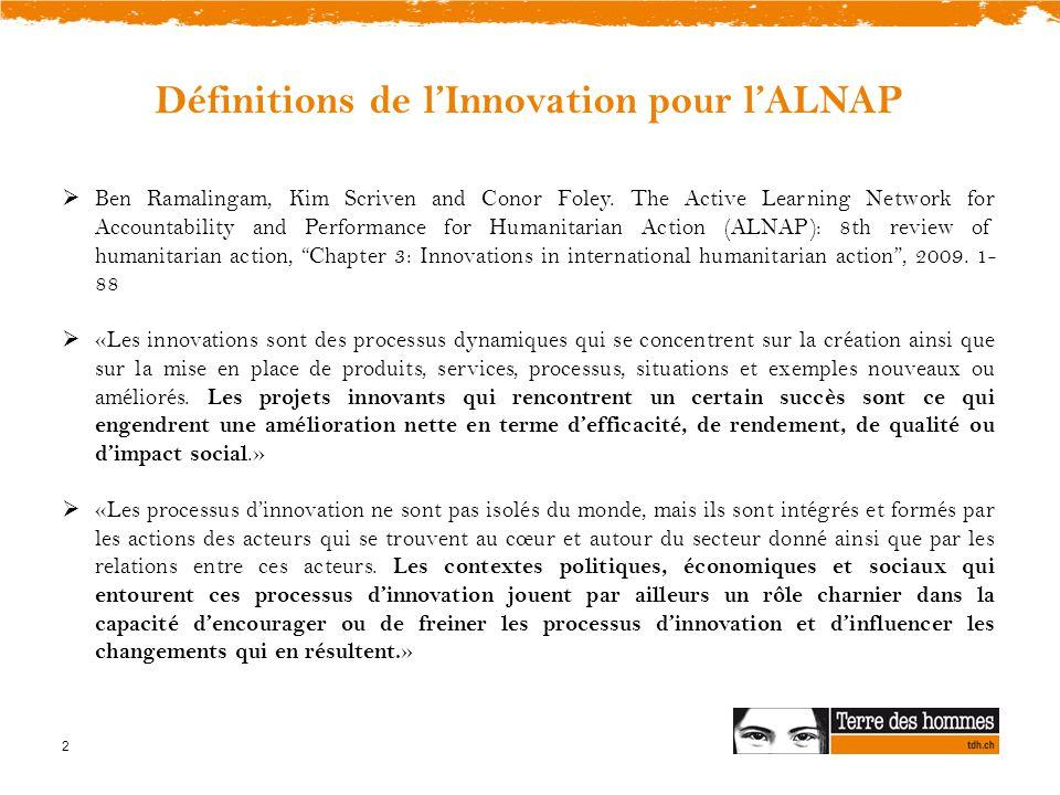 Définitions de l'Innovation pour l'ALNAP