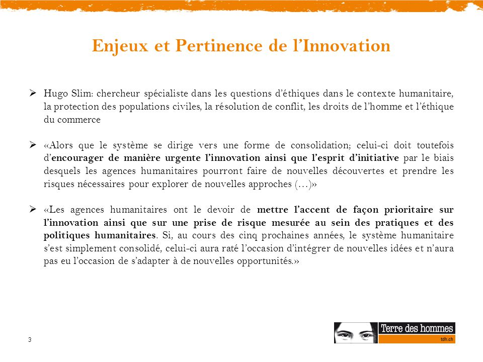 Enjeux et Pertinence de l'Innovation
