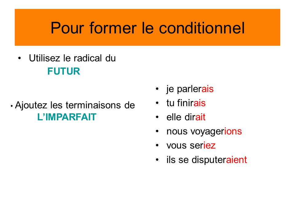 Pour former le conditionnel
