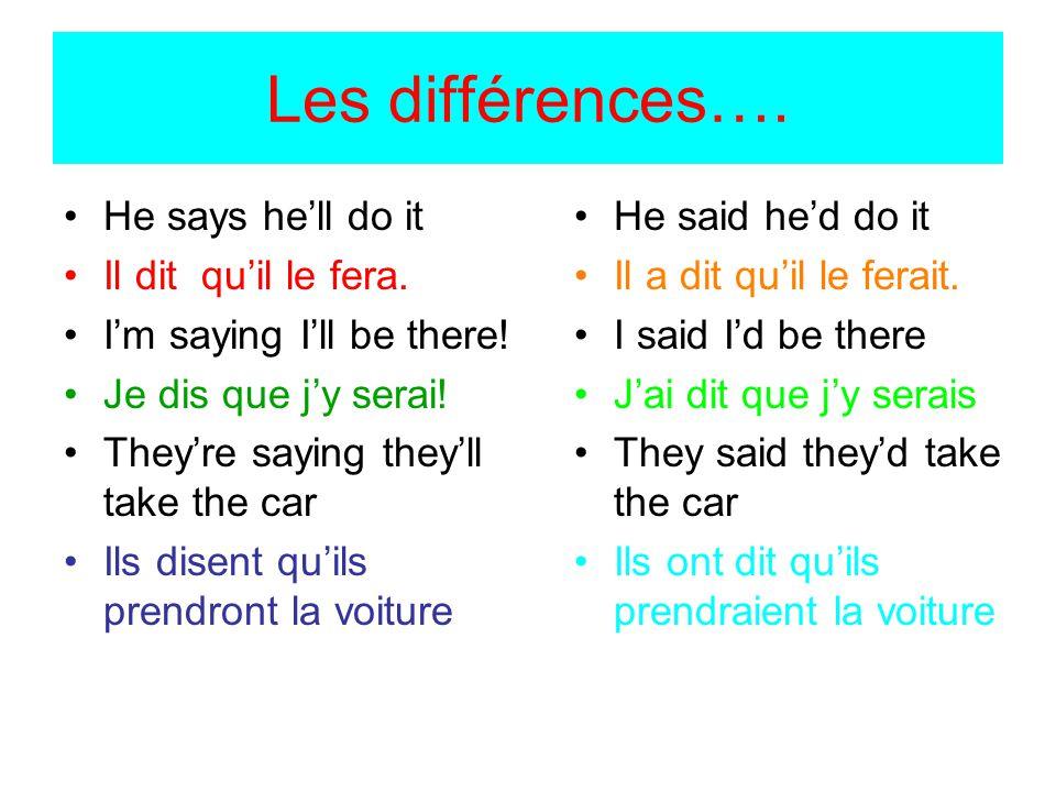 Les différences…. He says he'll do it Il dit qu'il le fera.