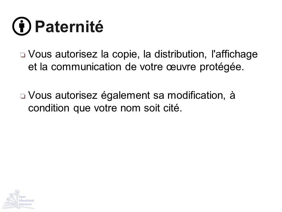 Paternité Vous autorisez la copie, la distribution, l affichage et la communication de votre œuvre protégée.