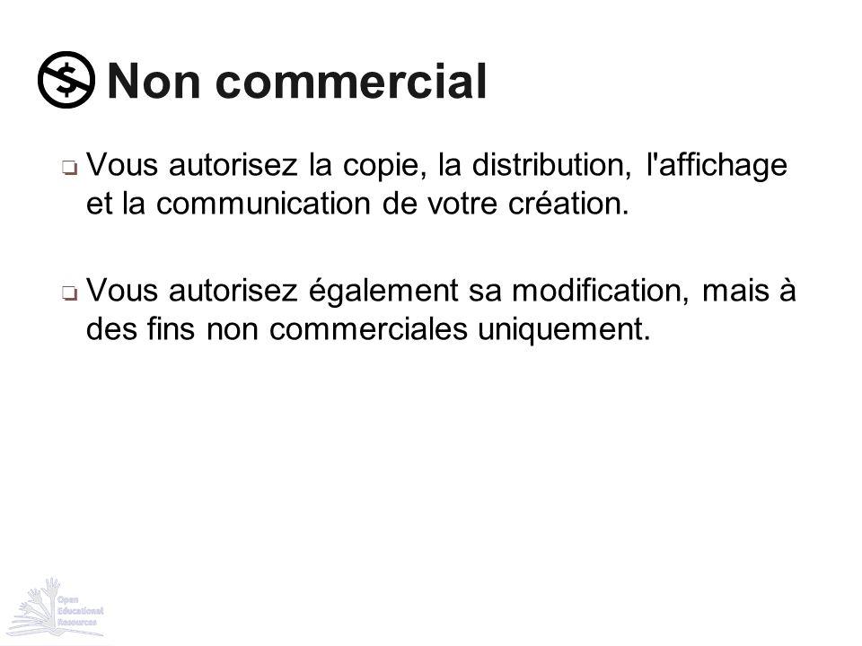 Non commercial Vous autorisez la copie, la distribution, l affichage et la communication de votre création.