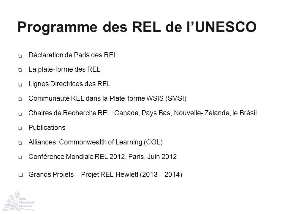 Programme des REL de l'UNESCO