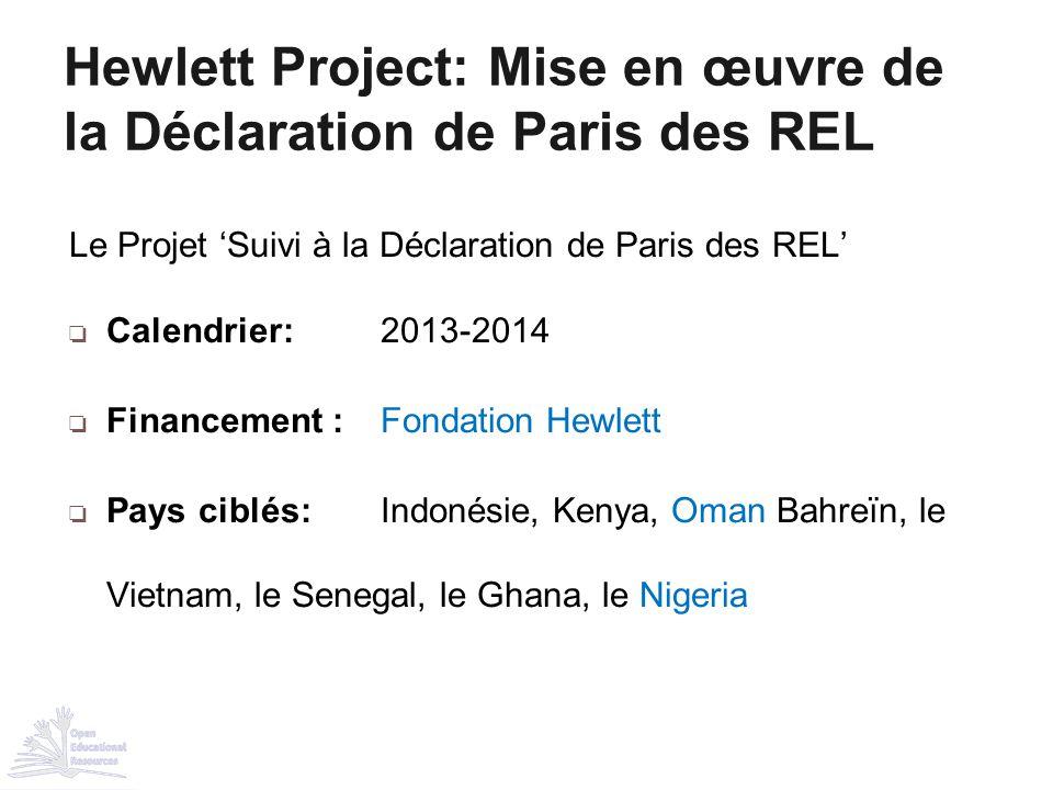 Hewlett Project: Mise en œuvre de la Déclaration de Paris des REL