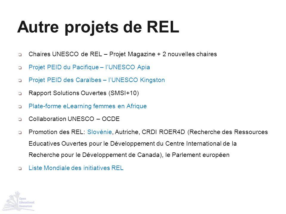 Autre projets de REL Chaires UNESCO de REL – Projet Magazine + 2 nouvelles chaires. Projet PEID du Pacifique – l'UNESCO Apia.