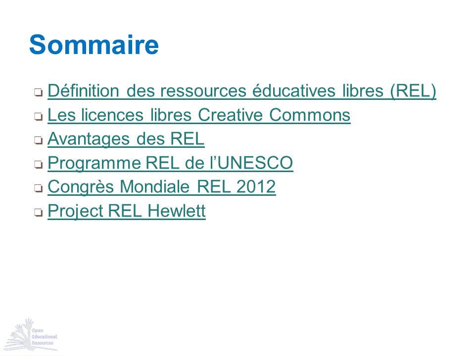 Sommaire Définition des ressources éducatives libres (REL)