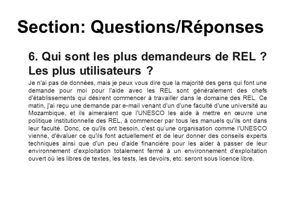 Section: Questions/Réponses