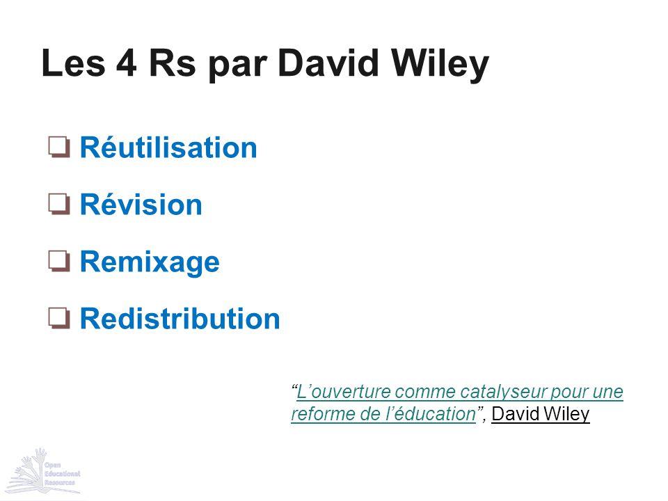 Les 4 Rs par David Wiley Réutilisation Révision Remixage