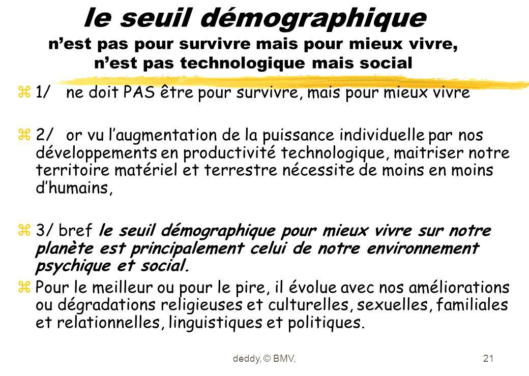le seuil démographique n'est pas pour survivre mais pour mieux vivre, n'est pas technologique mais social