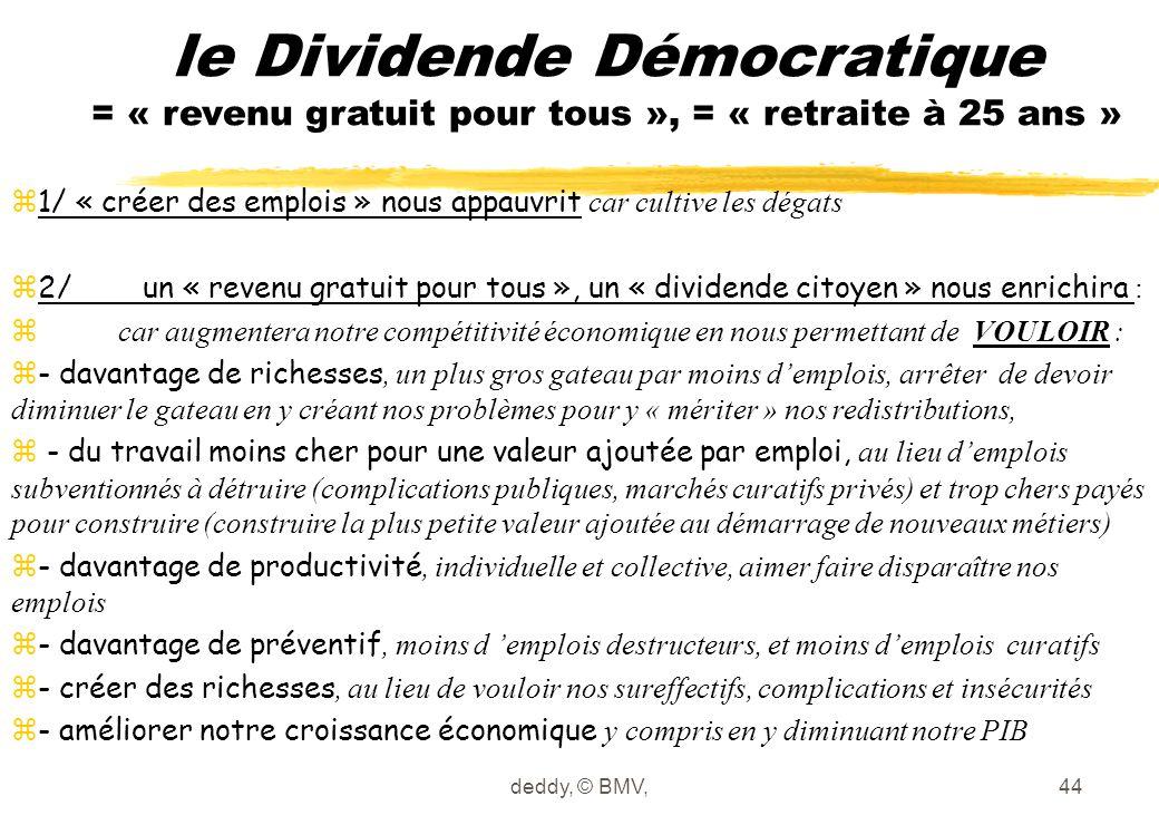 le Dividende Démocratique = « revenu gratuit pour tous », = « retraite à 25 ans »