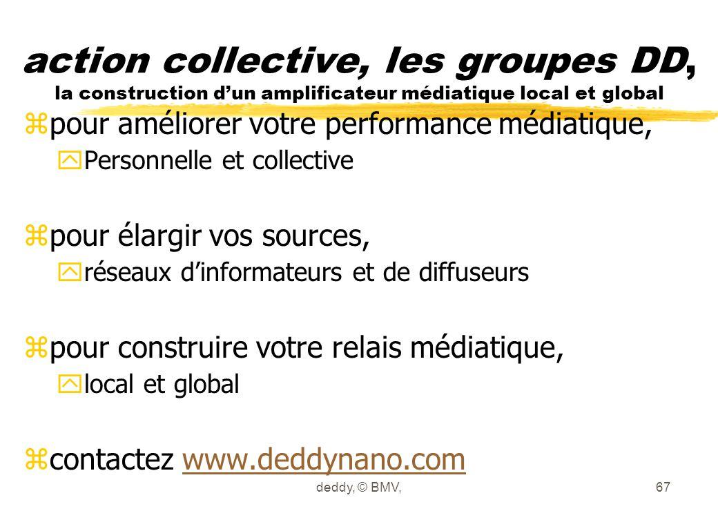 action collective, les groupes DD, la construction d'un amplificateur médiatique local et global