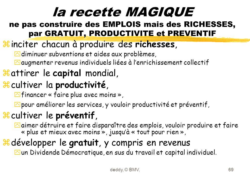 la recette MAGIQUE ne pas construire des EMPLOIS mais des RICHESSES, par GRATUIT, PRODUCTIVITE et PREVENTIF