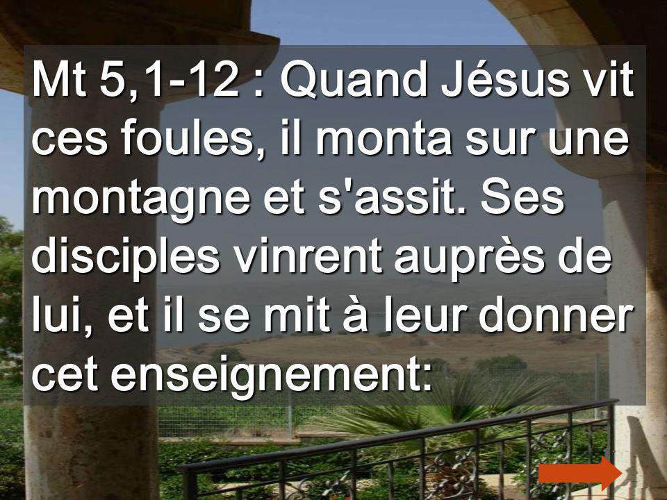 Mt 5,1-12 : Quand Jésus vit ces foules, il monta sur une montagne et s assit.