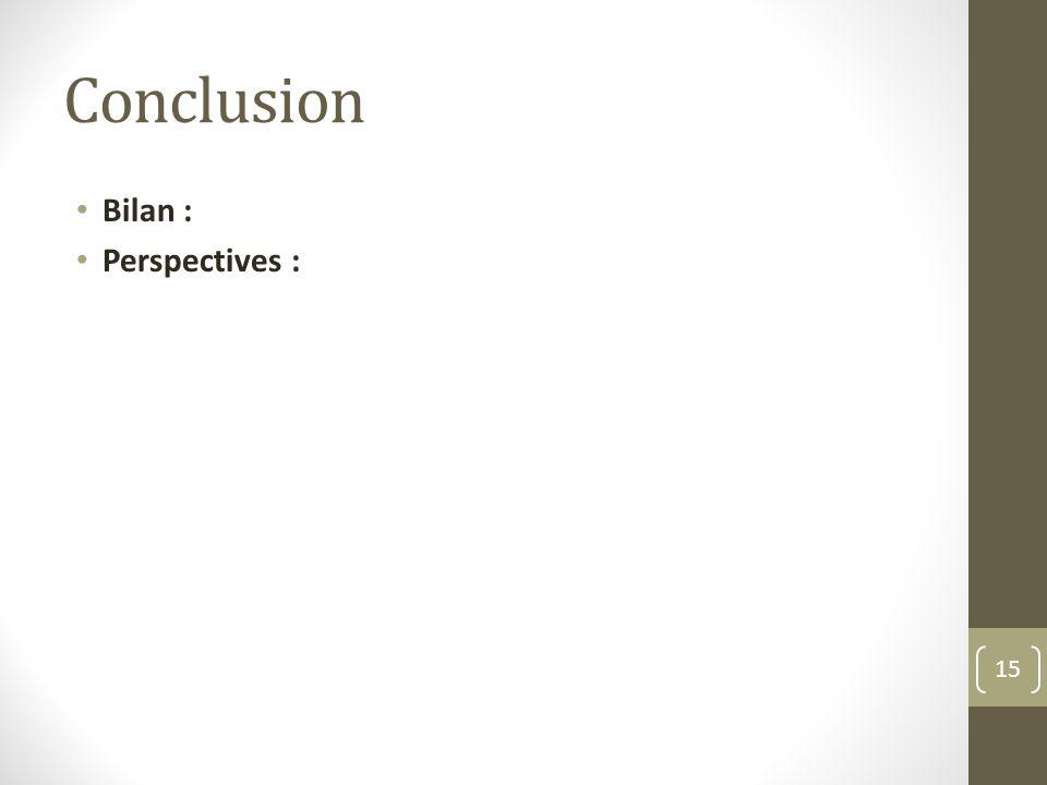 Conclusion Bilan : Perspectives :