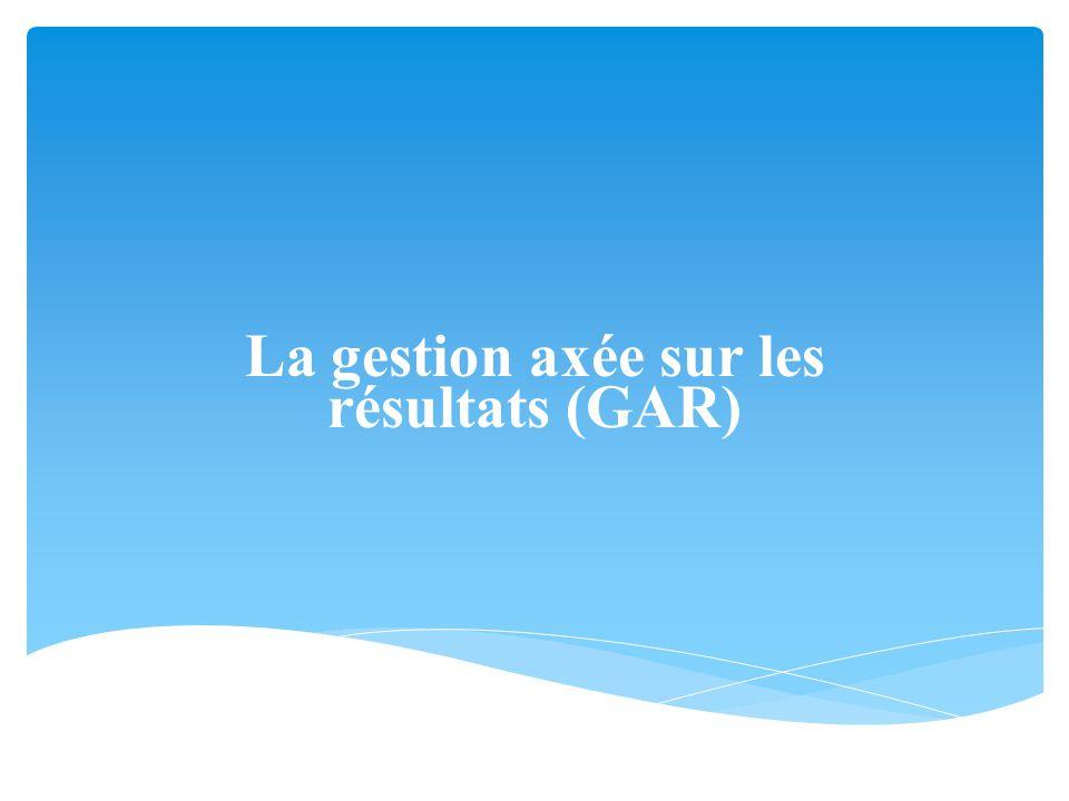 La gestion axée sur les résultats (GAR)