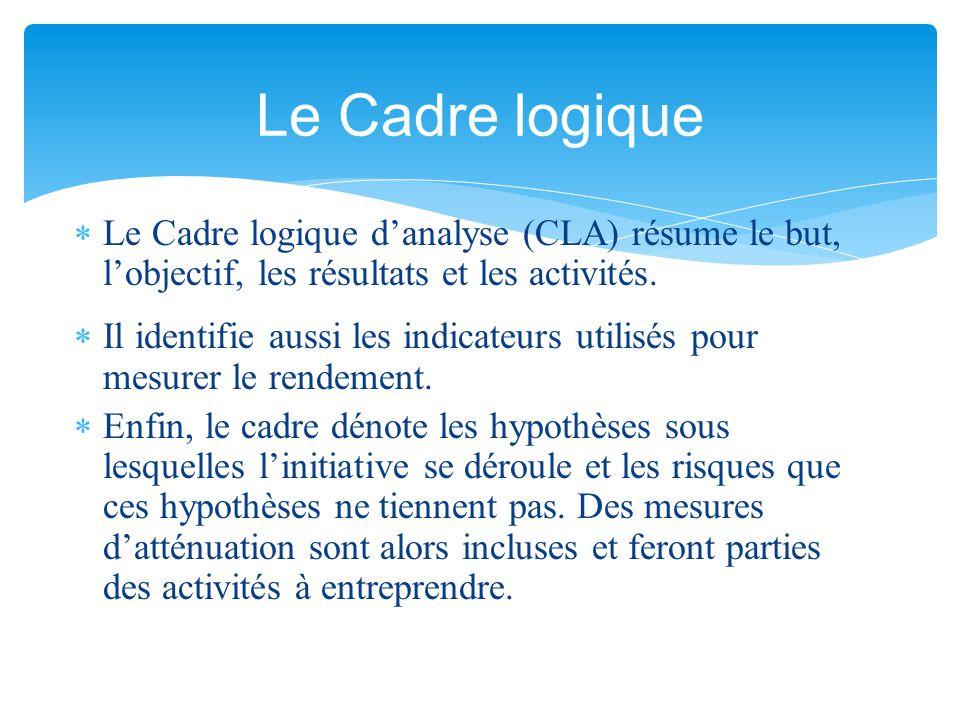Le Cadre logique Le Cadre logique d'analyse (CLA) résume le but, l'objectif, les résultats et les activités.
