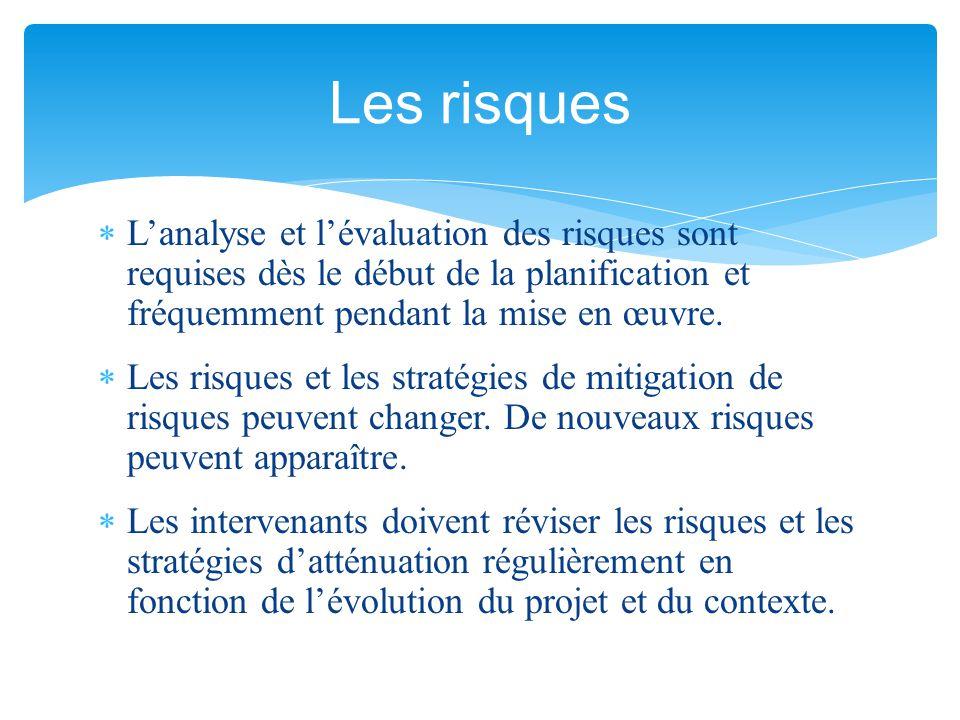 Les risques L'analyse et l'évaluation des risques sont requises dès le début de la planification et fréquemment pendant la mise en œuvre.
