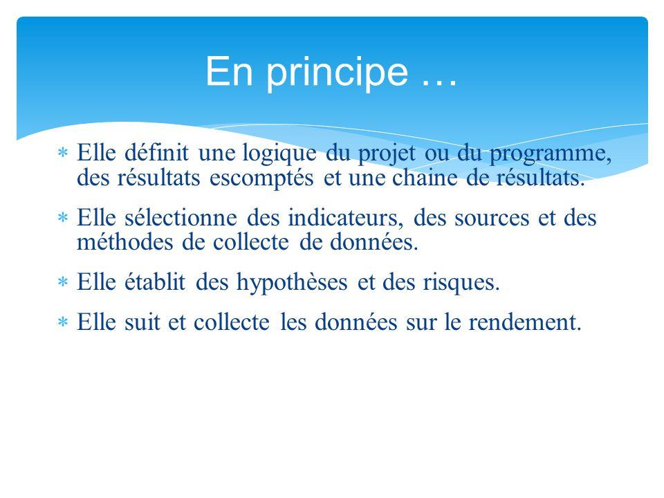 En principe … Elle définit une logique du projet ou du programme, des résultats escomptés et une chaine de résultats.