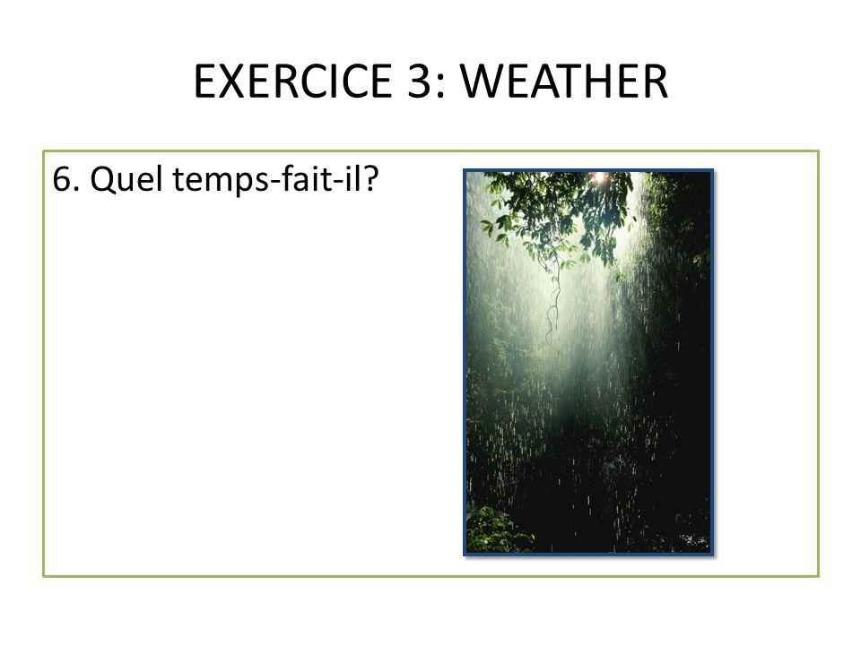 EXERCICE 3: WEATHER 6. Quel temps-fait-il